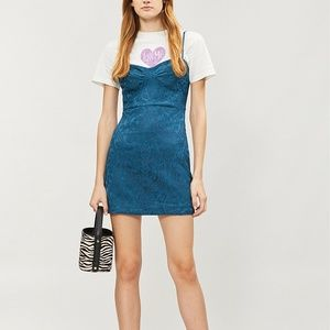 Free People Karla Slipdress Mini Dress Blue Satin